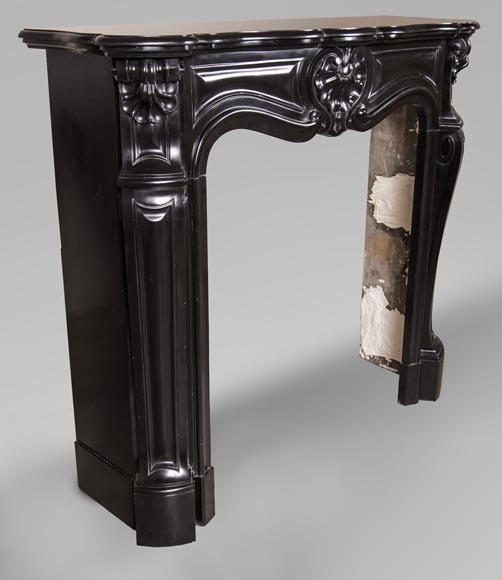 An antique Louis XV style fireplace with three shells, made out of Noir fin de Belgique marble-3