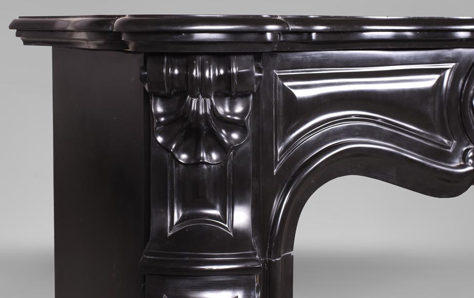 An antique Louis XV style fireplace with three shells, made out of Noir fin de Belgique marble-4