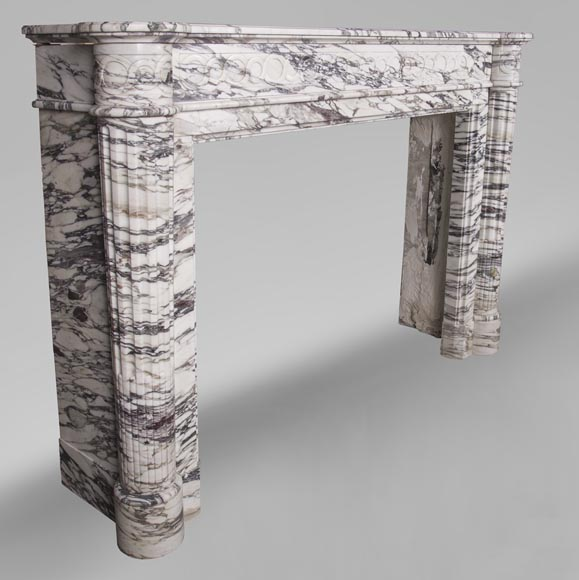 An antique Louis XVI style fireplace with half-columns made out of Brèche Violette marble-7