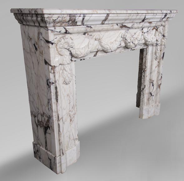 Antique Napoleon III style fireplace with garland made out of Skyros marble -3