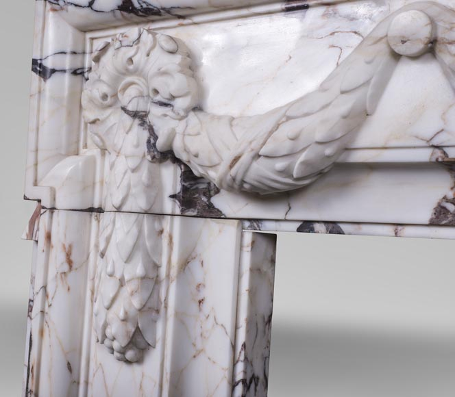 Antique Napoleon III style fireplace with garland made out of Skyros marble -5