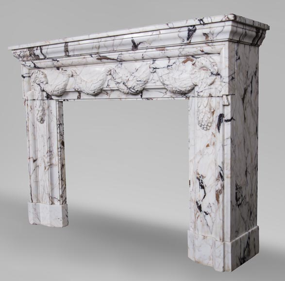 Antique Napoleon III style fireplace with garland made out of Skyros marble -7