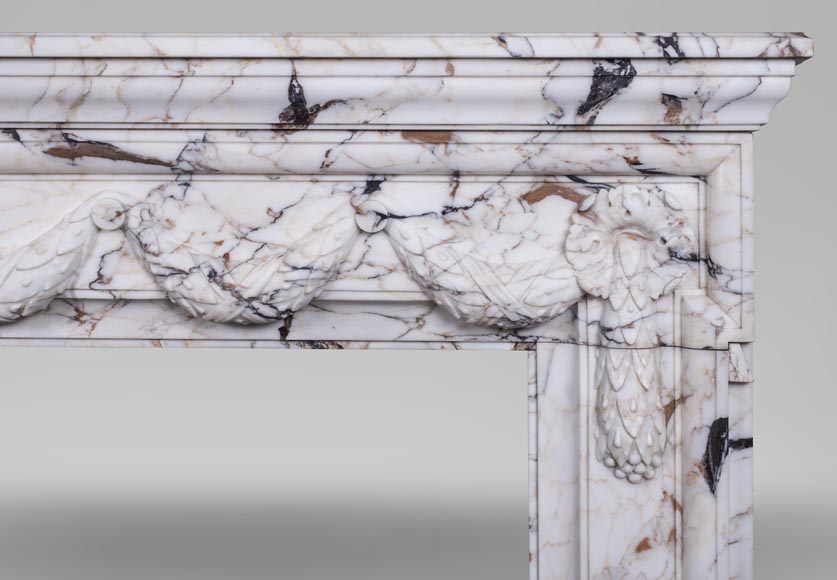 Antique Napoleon III style fireplace with garland made out of Skyros marble -8