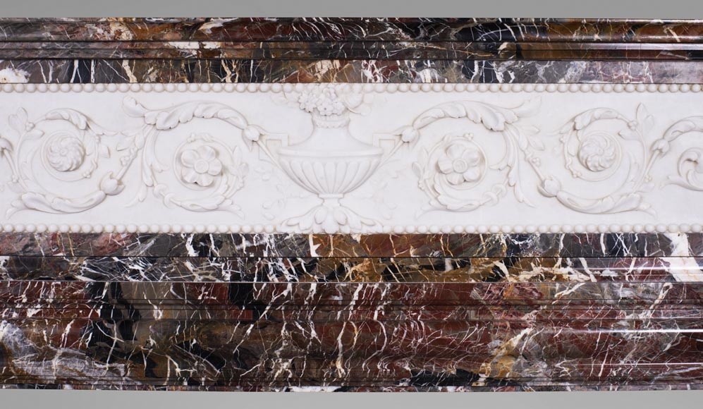 Antique Napoleon III style mantel in Rouge de Rance marble and Statuary Carrara marble low-relief-1