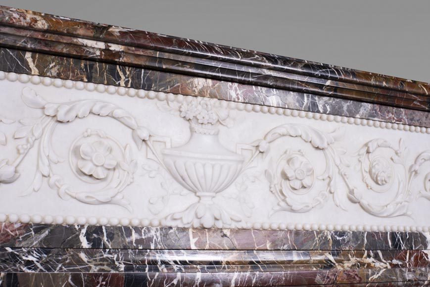 Antique Napoleon III style mantel in Rouge de Rance marble and Statuary Carrara marble low-relief-2