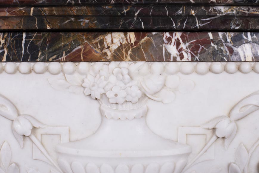 Antique Napoleon III style mantel in Rouge de Rance marble and Statuary Carrara marble low-relief-3