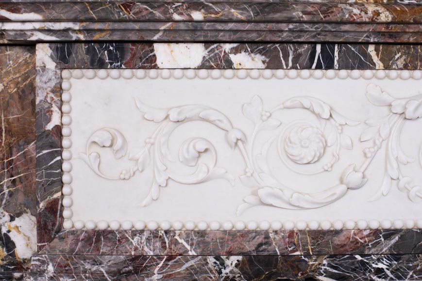 Antique Napoleon III style mantel in Rouge de Rance marble and Statuary Carrara marble low-relief-4
