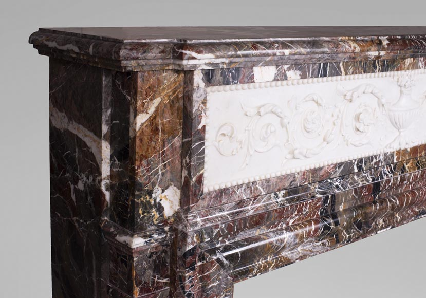 Antique Napoleon III style mantel in Rouge de Rance marble and Statuary Carrara marble low-relief-6