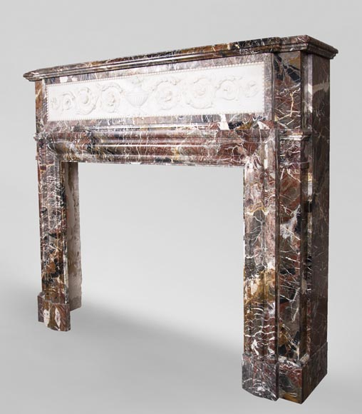Antique Napoleon III style mantel in Rouge de Rance marble and Statuary Carrara marble low-relief-8