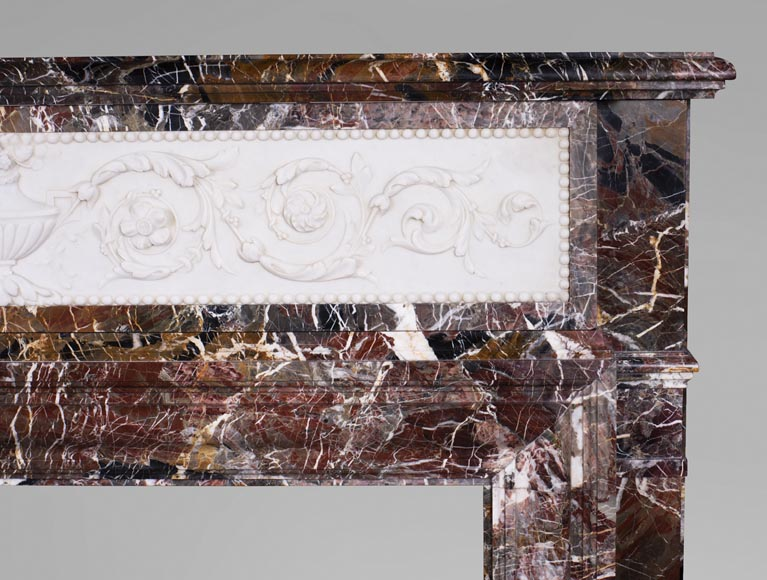 Antique Napoleon III style mantel in Rouge de Rance marble and Statuary Carrara marble low-relief-9