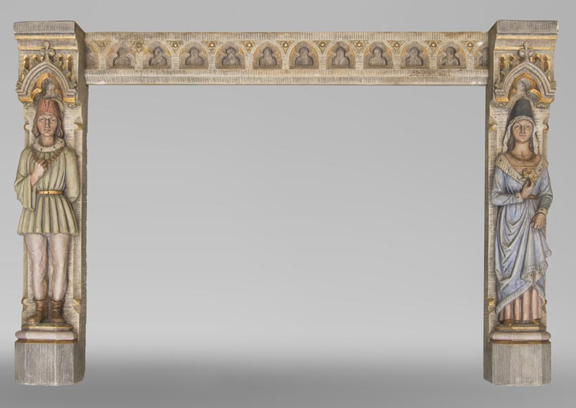 An antique Neo-Gothic style fireplace with medieval characters-0