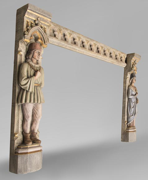 An antique Neo-Gothic style fireplace with medieval characters-2