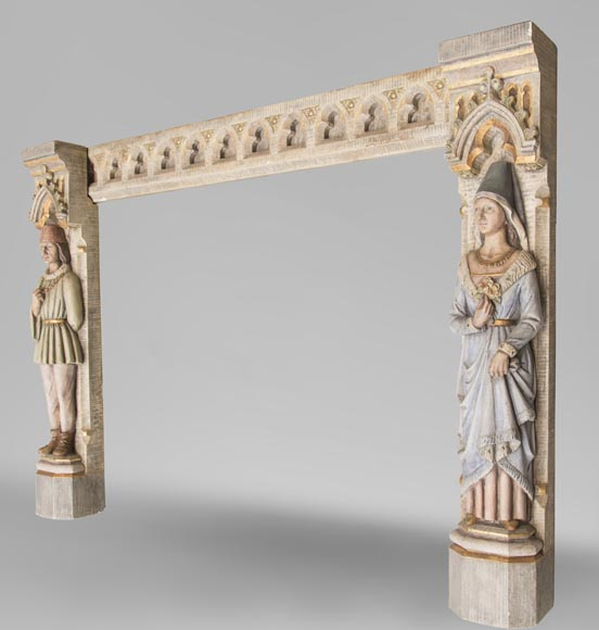 An antique Neo-Gothic style fireplace with medieval characters-5