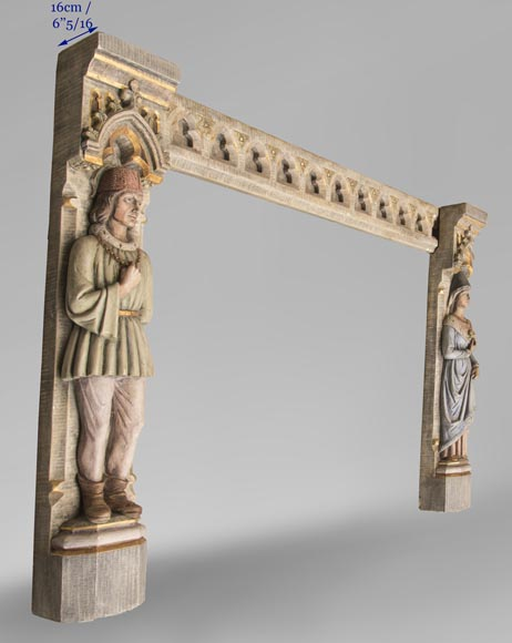 An antique Neo-Gothic style fireplace with medieval characters-10