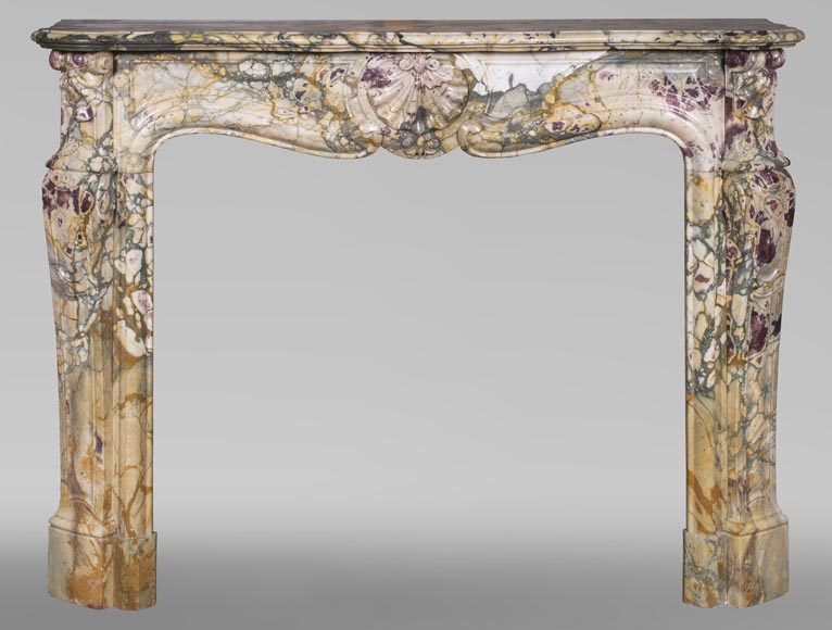 Antique Louis XV style mantel with three shells in Brèche de Médous marble-0