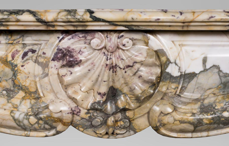 Antique Louis XV style mantel with three shells in Brèche de Médous marble-1