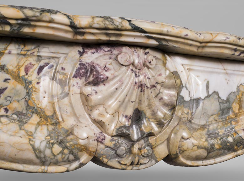 Antique Louis XV style mantel with three shells in Brèche de Médous marble-2