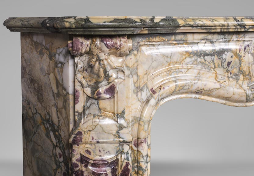 Antique Louis XV style mantel with three shells in Brèche de Médous marble-4