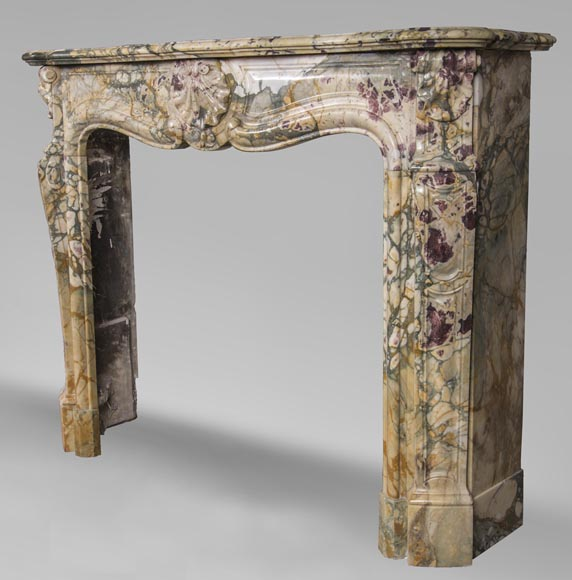 Antique Louis XV style mantel with three shells in Brèche de Médous marble-6