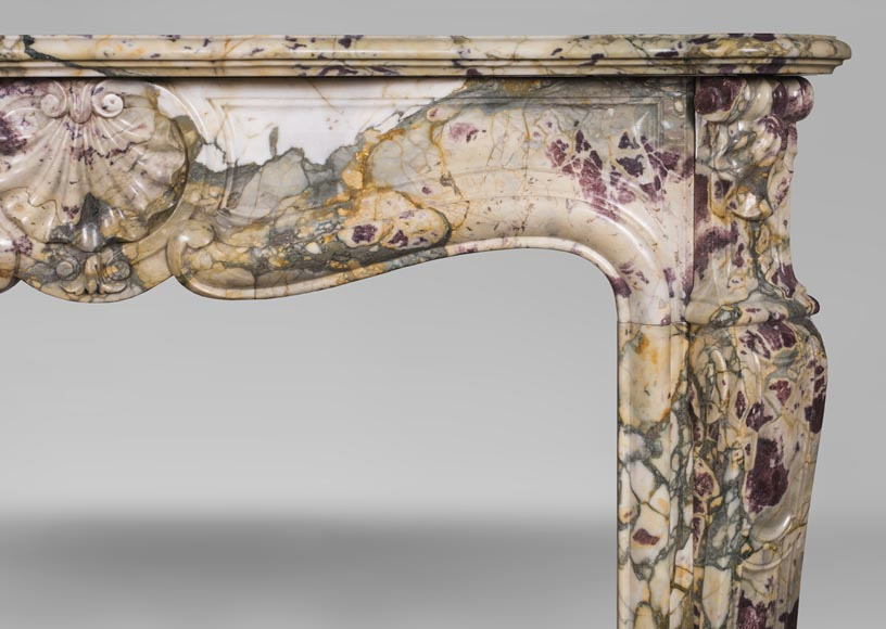 Antique Louis XV style mantel with three shells in Brèche de Médous marble-7