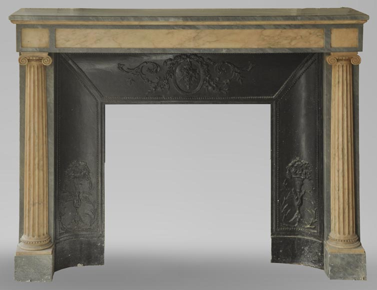 An antique Directoire style fireplace, made out of Rose du Portugal and Bleu Turquin marble-0