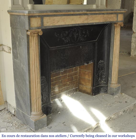 An antique Directoire style fireplace, made out of Rose du Portugal and Bleu Turquin marble-2