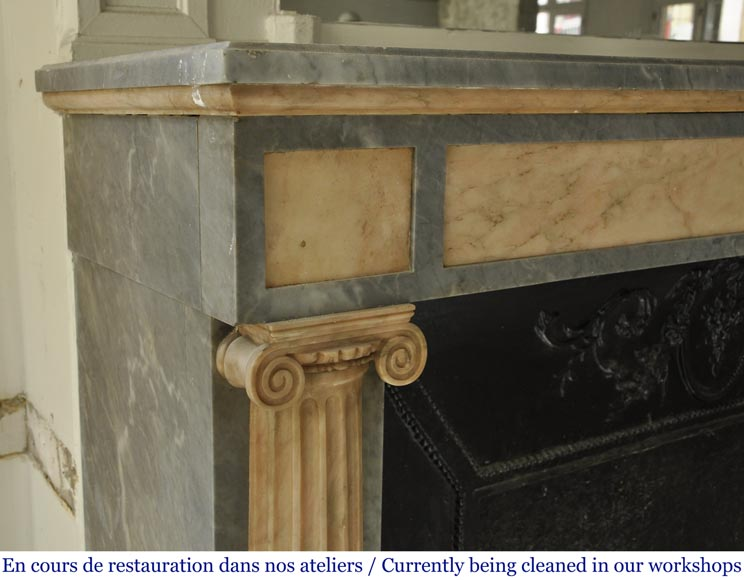 An antique Directoire style fireplace, made out of Rose du Portugal and Bleu Turquin marble-3
