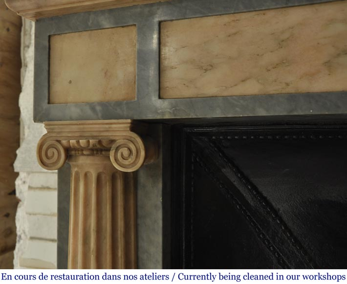 An antique Directoire style fireplace, made out of Rose du Portugal and Bleu Turquin marble-4