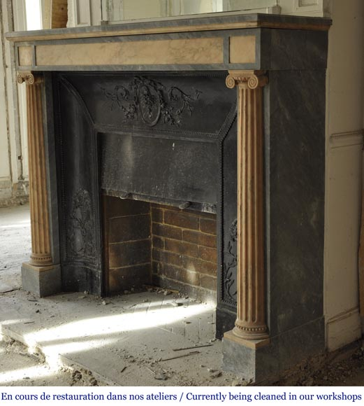 An antique Directoire style fireplace, made out of Rose du Portugal and Bleu Turquin marble-6