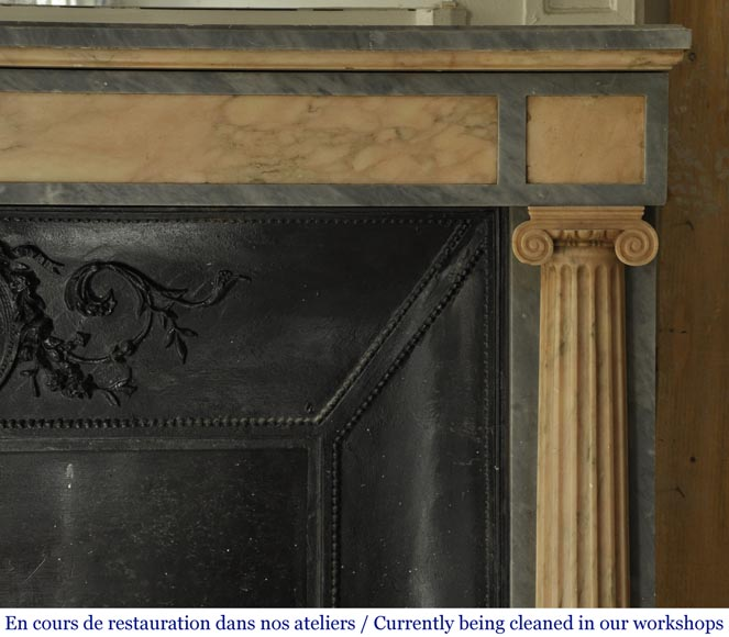 An antique Directoire style fireplace, made out of Rose du Portugal and Bleu Turquin marble-7