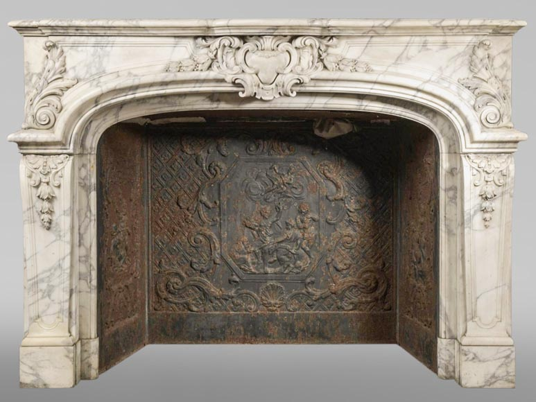 Very beautiful Regency style fireplace mantel in Arabescato marble-0