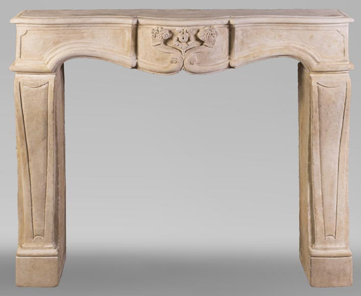 Small 19th century Burgundy stone fireplace-0