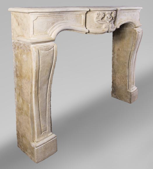 Small 19th century Burgundy stone fireplace-3
