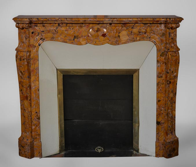 An antique Louis XV style fireplace, Pompadour model, made out of Aleppo Breccia marble-0