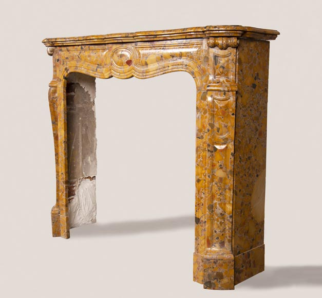 An antique Louis XV style fireplace, Pompadour model, made out of Aleppo Breccia marble-5