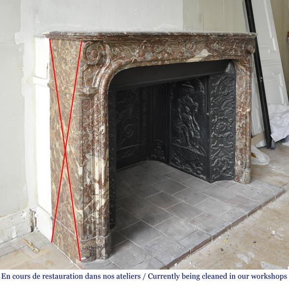 An antique Regence style fireplace made out of Rouge Royal marble-2