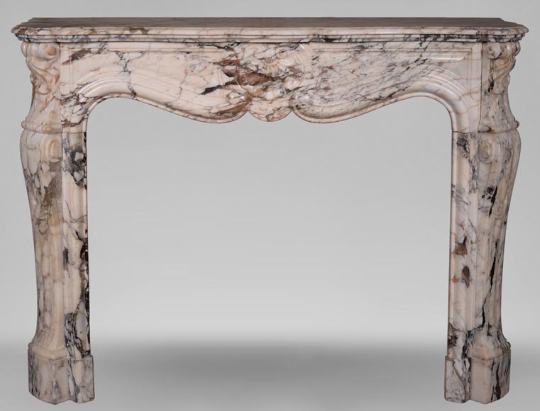 An antique Louis XV style fireplace with three shells, made out of Serravezza Breccia marble-0