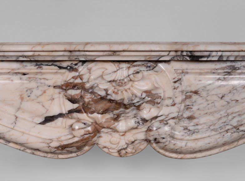 An antique Louis XV style fireplace with three shells, made out of Serravezza Breccia marble-1