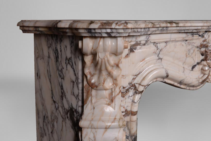 An antique Louis XV style fireplace with three shells, made out of Serravezza Breccia marble-4