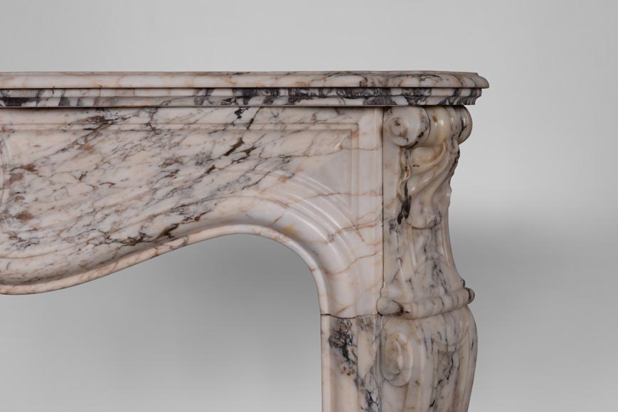 An antique Louis XV style fireplace with three shells, made out of Serravezza Breccia marble-7