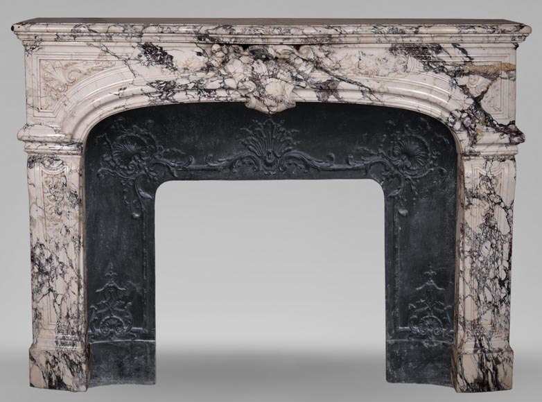 Very beautiful antique Regence style fireplace in Serravezza marble-0