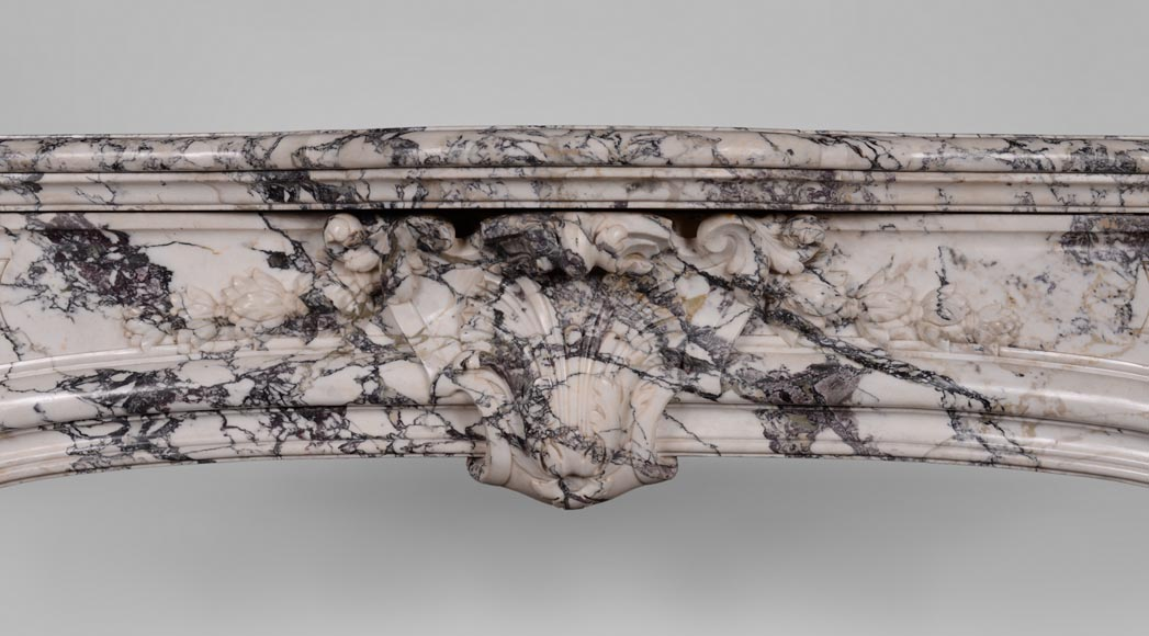 Very beautiful antique Regence style fireplace in Serravezza marble-1