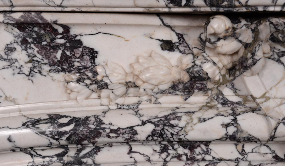Very beautiful antique Regence style fireplace in Serravezza marble-3