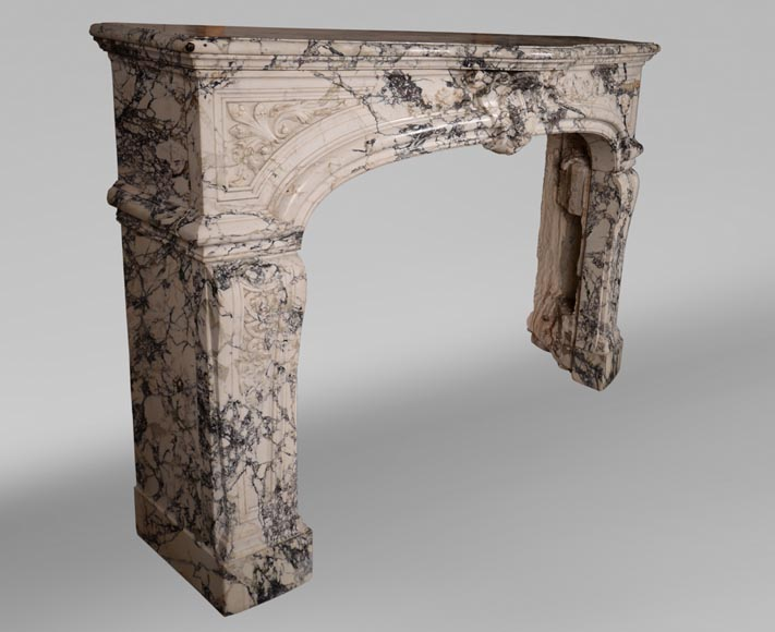 Very beautiful antique Regence style fireplace in Serravezza marble-5