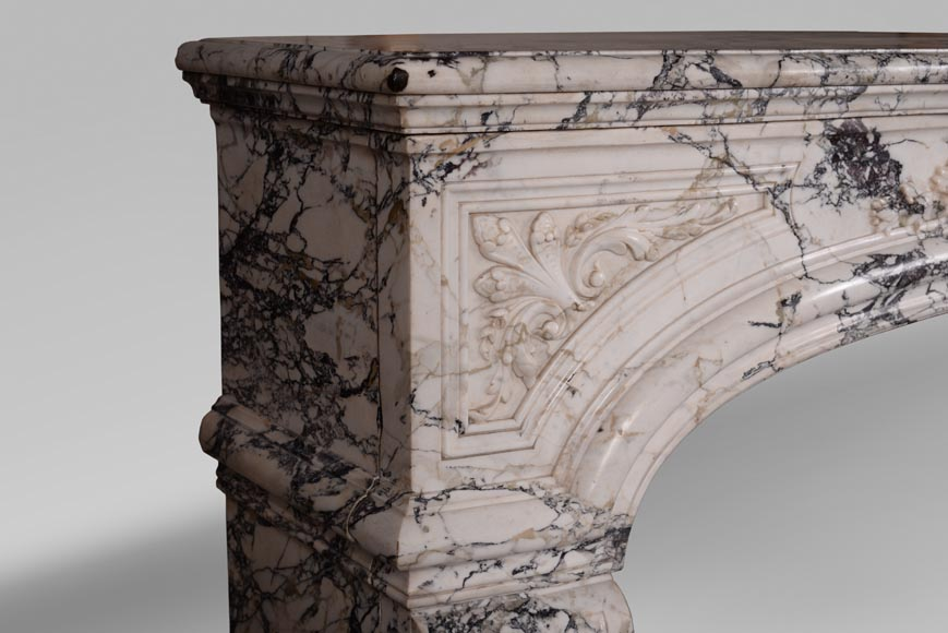 Very beautiful antique Regence style fireplace in Serravezza marble-6