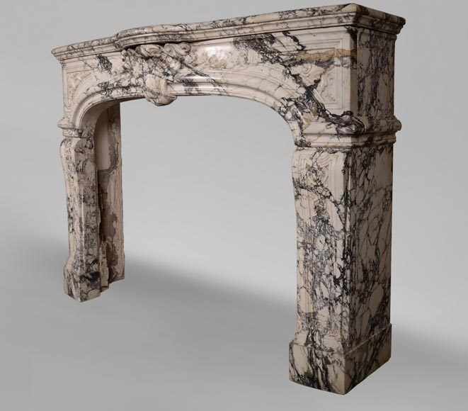 Very beautiful antique Regence style fireplace in Serravezza marble-9