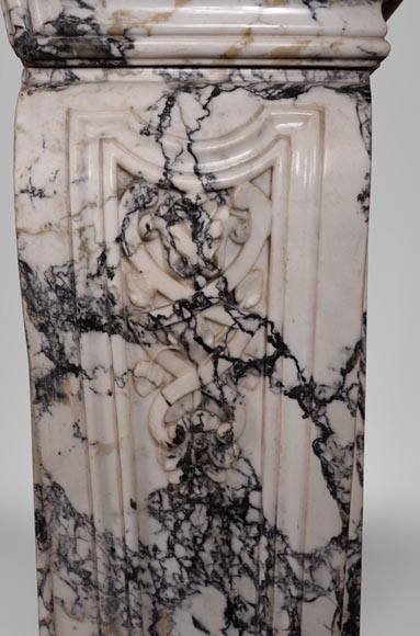 Very beautiful antique Regence style fireplace in Serravezza marble-11