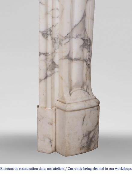 An antique Louis XV style fireplace, with a large asymmetrical shell, made out of Arabescato marble-8