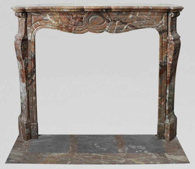 An antique Louis XV style fireplace, made out of Enjugerais marble, Pompadour model-0