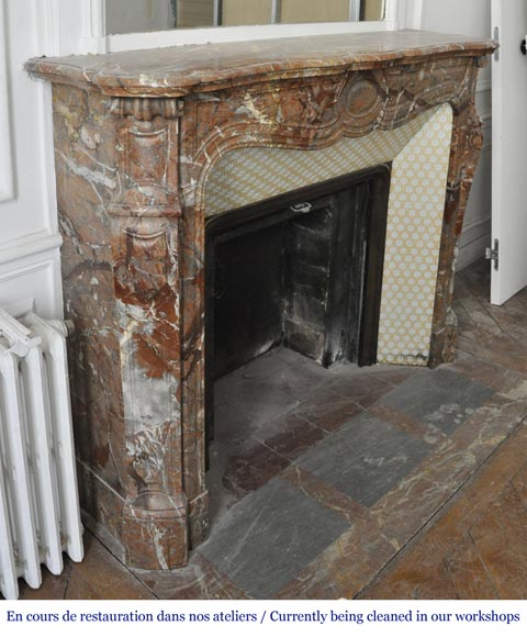 An antique Louis XV style fireplace, made out of Enjugerais marble, Pompadour model-2